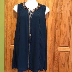 Perch 2X Sleeveless Lined Teal Dress